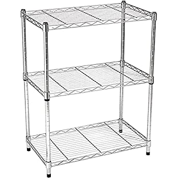 Amazon Basics 3-Shelf Adjustable Heavy Duty Storage Shelving Unit  250 lbs loading capacity per shelf  Steel Organizer Wire Rack Chrome  23.3L x 13.4W x 30H