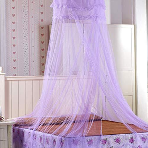 Moskitonetz Bett, Prinzessin Moskitonetz Mückennetz für Reise und Zuhause, Moskitonetz Bett Insektennetz Betthimmel für Doppelbett & Einzelbett, inkl. Klebehaken, Höhe 260 cm (Lila)