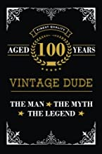 Aged 100 Years Vintage Dude The Man The Myth The Legend: Lined Journal with Inspiration Quotes for Men's 100th Birthday Gift, Funny 100th Happy Birthday Book for Men