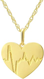 SOLIDGOLD - 14K Real Gold Heart and Heartbeat Pendant With an Adjustable Necklace Chain