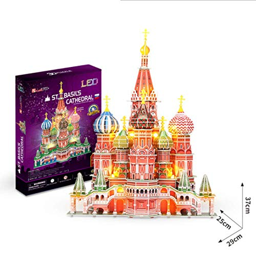 DIY Puzzle 3D De Catedral de San Basilio Kit de Construcción de Catedral Rusa Juguetes LED Modelos Decoración De Mobiliario Exquisita, Adecuado para La Colección (224Pcs)