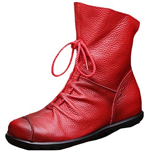 Vogstyle Damen Handgefertigte Schnürsenkel Lederstiefel Flach Leder Stiefeletten Mit Reißverschluss Art 1 Rot EU39/CH40