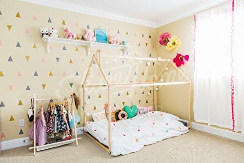 Sweet Home da letto in legno Montessori House, Natural, 200x90cm