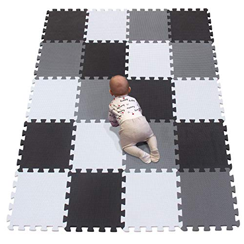 YIMINYUER Baby Spielmatte, Kinder eco schadstofffrei Krabbelmatte Extra dick Baby Schaumstoffmatte Nicht giftig Kinderteppich Weiß Schwarz Grau R01R04R12G301020