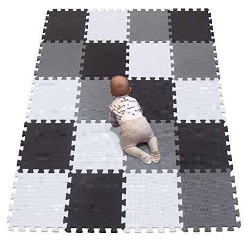 YIMINYUER Alfombra Puzzle de Colores de Goma EVA Suave, Resistente, Aislante, Lavable, Alfombra de Juegos para niños, tamaño del 30 x 30 cm Blanco Negro Gris R01R04R12G301020