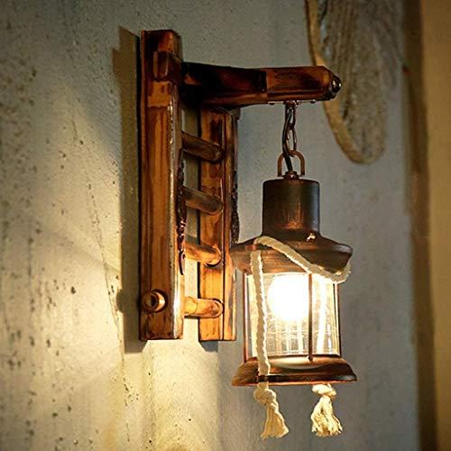 E27 Holz Retro Wandleuchte Kreativ Harz Vintage Antik Nostalgie Hanfseil Rustikale Wandlampe Glas Lampenschirm Korridor Treppen Schlafzimmer Gang Bar Cafe Esszimmer Küche Wohnzimmer Wand Lampe
