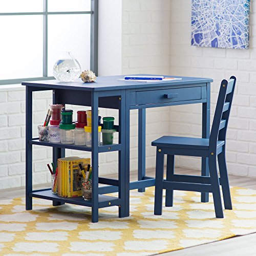 Lipper Writing Workstation Desk and Chair - Navy