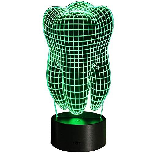 Creativo 3D Dientes Luz de Noche 7 Colores que Cambian USB Poder Touch Switch Ilusión óptica Decor Lámpara LED Mesa Lámpara Niños Juguetes Cumpleaños Navidad Regalo
