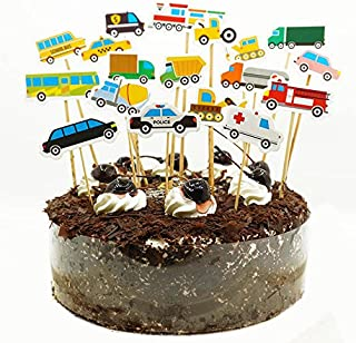 Shxstore Set of 18 Car Truck Tractor Excavator Dumpers Ambulance Bus Taxi Vehicle Cupcake Toppers Picks DIY Cake Topper Toolkit