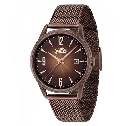 Sixties Unisex Erwachsene Analog Quarz Uhr mit Edelstahl Armband SIX500RGAME-05