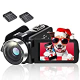HD Video Camera Camcorder with LED Fill Light, 1080P 30MP 30FPS FHD YouTube Vlogging Camera Recorder 18X Digital Zoom Support External Microphone with 2 Batteries Free HDMI Cable