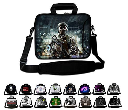 Funky Planet 17' 17.3' inch Shoulder Laptop Sleeve Case Bag Compatible with Apple MacBook air pro Dell Lenovo Samsung Asus Computer Tablet or Ipad (hs Soldier with Gun)