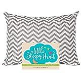 Little Sleepy Head Toddler Pillowcase 13x18-100% Organic Cotton & Hypoallergenic - Chevron Gray