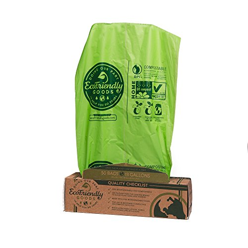 EcoFriendly Goods Compostable Bags - 50 Count Heavy Duty 13-Gallon Trash Bag 1.0 Milliliters Extra Thick To Avoid Punctures & Tears - 100% Biodegradable For Food/Lawn Waste Compost - Garden Composting