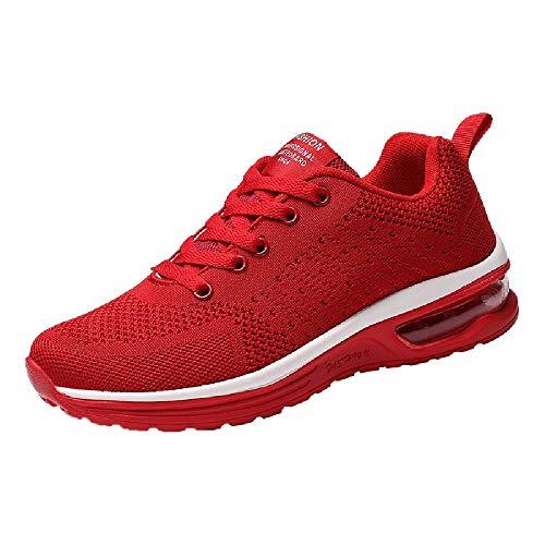 Culater Zapatillas Mujer Modelos de Pareja Zapatos de Malla Tejidos Volando Casuales con Cordones Deportivos(36,Rojo)