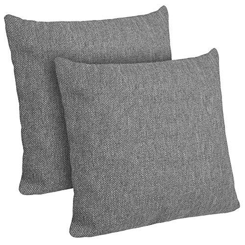Selfitex 2er Set Sofakissen mit Füllung | Dekokissen mit Komfort-Polster-Bezug mit RV und Füllkissen | super flauschig und extra weich | im Doppelpack: 2X Größe 50x50 cm | Couchkissen (Grey)
