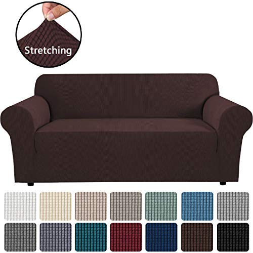 Stretch Sofa Covers Couch Cover Furniture Protector Sofa Slipcover 1-Piece Feature High Spandex Textured Lycra Small Checks Jacquard Fabric with Elastic Bottom(Sofa 72'-96' Wide: Chocolate)