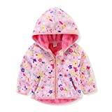 Toddler Kids Baby Girls Hooded Fleece Jacket Coat Floral Print Long Sleeve Zipper Hoodies Sweatshirt Thick Warm Outerwear Autumn Winter Clothes Pink Floral 3 Years