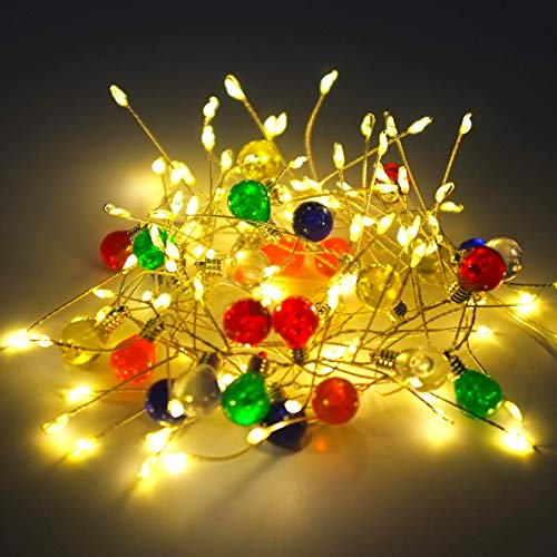 Battery Operated Fairy Lights, 4.3ft/1.3m 100 Warm White LED Firefly String Lights, Colorful Bulb Decorative Lights for Festival, Wedding, Birthday, Party, Spring Decorations