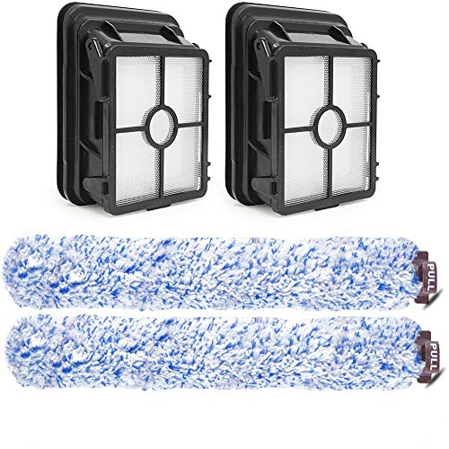 Anwor 4 Stück Zubehör für Bissell Crosswave 3-In-1,2 Bürstenrolle Und 2 Filter für Bissell Crosswave 3-in-1, Hartboden-Bürstenrolle und Filter für Crosswave, Ersatzteile/Austauschsets für Bissell