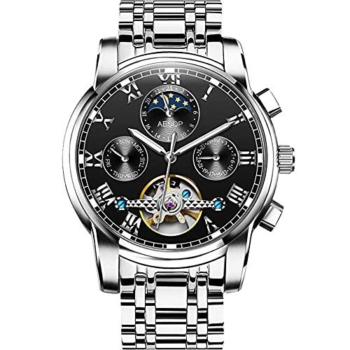 Relojes Hombres Reloj con Correa de Acero Inoxidable Relojes de Pulsera Impermeables para Hombres de Negocios Hombres -B