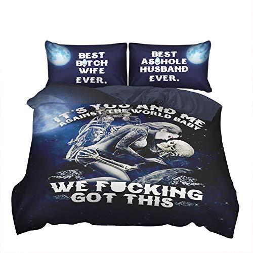 WONGS BEDDING Bettwäsche 3D Totenkopf Bettbezug 135×200 Mikrofaser Bettwäsche Set 2 Teilig Bettbezüge mit Reißverschluss 135×200+50×75 cm Kissenbezug(Blau)