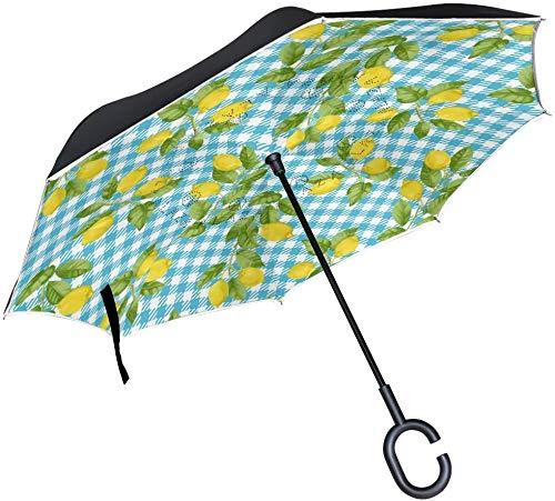 Paraguas de lluvia invertido de color azul con cierre invertido, de calidad al revés, resistente al agua, con gancho y asa en forma de C