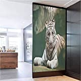 W 23.6' x L 47.2' Privacy Window Static Cling Window Sticker,Bengal Symbol Swimming White Beast with Black Sprites Large Cat Animals Having Fun Teal White