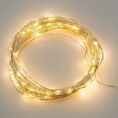 3M 30 LED Kupfer Lichterkette Lampe Kupferdraht wasserdicht Batterie Kranz Weihnachtsdekoration Garten Terrasse Festival Hochzeit Outdoor (warmweiß)