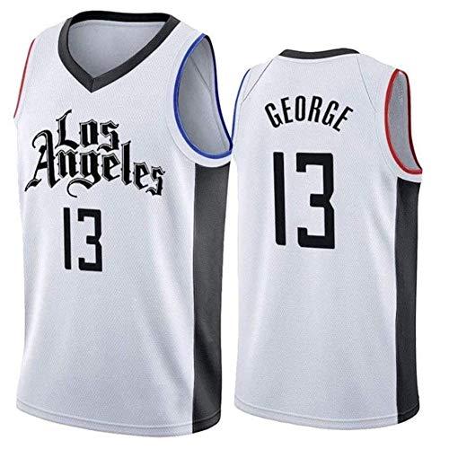 QAZWSX City Edition Paul George 13# Maglia da Basket, Uomo Los Angeles Clippers Uniforme da Basket, Abiti da Allenamento Senza Maniche Swingman-XXL