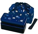 Japanese Traditional Rabbit Blossom Bento Box Set - Square 2 Tier Bento Box, Rice Ball Press, Bento Bag (Blue)