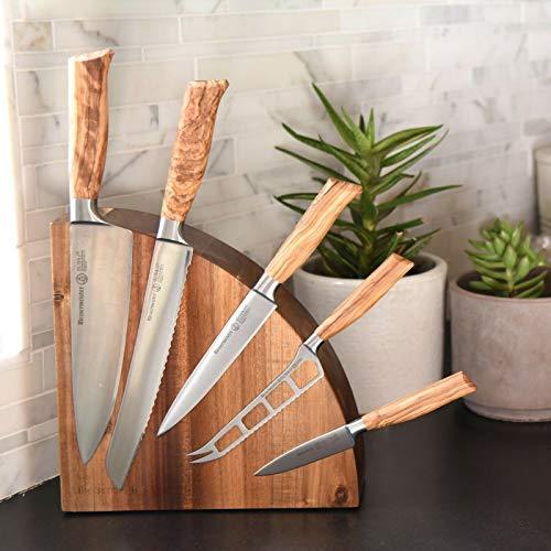 Messermeister Oliva Elite 6pc Knife & Acacia Magnet Block Set