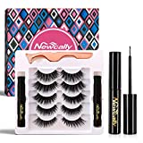 Magnetic Eyeliner and Lashes Set, Magnetic False Lashes 5 Pairs with Magnetic Eyeliner, No Glue Long Lasting and Resuable