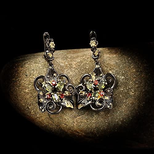 NIUBKLAS Pendientes de Doble Flor de Temperamento Elegante, Pendientes de circonita de Color, joyería de Fiesta, joyería Italiana de Lujo 925, Pendientes de joyería