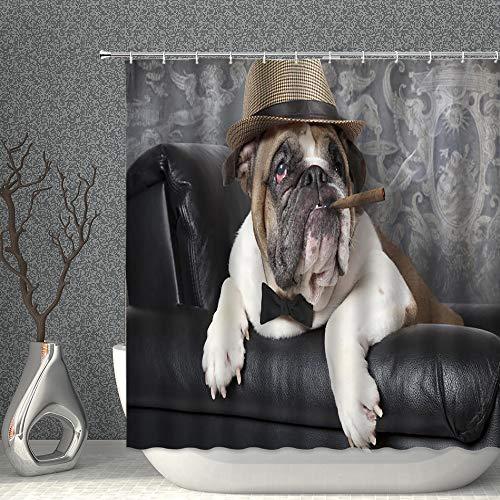 Haustier-Duschvorhang mit lustigem Tiermotiv, Rauchen auf dem Sofa, Dekoration, Polyester, Badezimmer-Gardinen mit Haken, 178 x 178 cm
