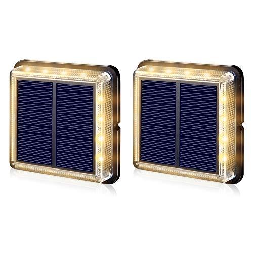 Uniquefire ソーラー充電式LEDライト 屋外の埋められたライト、IP67防水ワイヤレスソーラー造園フロアライト、 (2個)