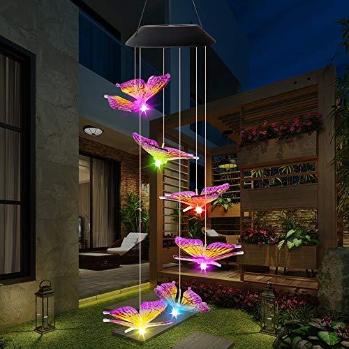 ALLOMN Solar Windspiel, Garten Dekoration Licht RGB Multi-Color Allmähliche Änderung, Sechs Schmetterling Wasserdicht Automatische AN/AUS Großes Geschenk für Weihnachten Valentinstag (Lila)