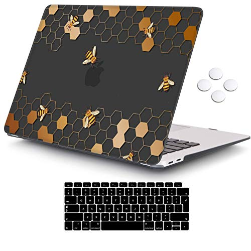 MacBook Air 13 inch Case 2020 2019 2018 Release A2337 M1 A2179 A1932, iCasso Plastic Hard Shell Case Cover and Keyboard Cover Only Compatible MacBook Air 13'' with Touch ID Retina Display - Bee