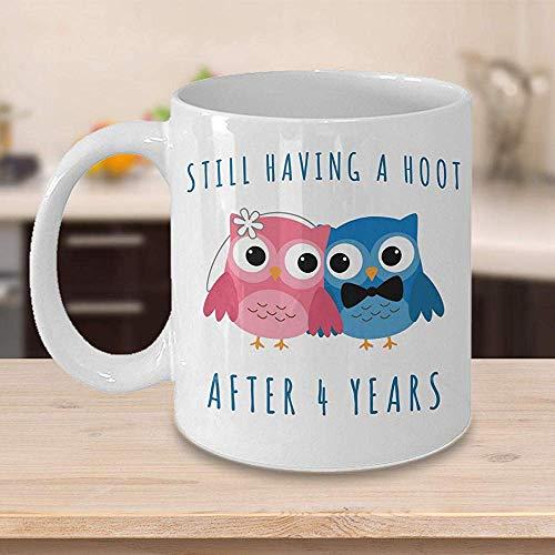 4. Jahrestags-Kaffeetasse, die noch einen Schrei nach 4 Jahren zusammen hat Viertes Hochzeitstag-Geschenk für ihn vier Schale