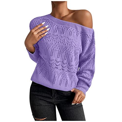 NHNKB Suéter de punto grueso para mujer, jersey de punto ligero, elegante