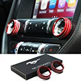Mustang Accessories,Aluminum Center Console Volume Tune Knob Cover Ring Trim Interior Accessories for Ford Mustang 2015-2021(Red, Volume)
