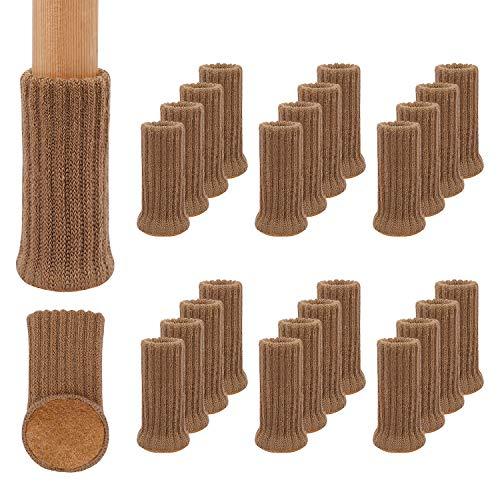 RCHYFEED Möbelbeinsocken, 24 Stück, Gestrickte Möbelfuß-Abdeckung, Stuhlbein-Bodenschoner Vermeiden Kratzer, Geeignet für 1 bis 2 Zoll Durchmesser der Stuhlfüße, Hellbraun