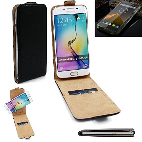 K-S-Trade® Für Blackview BV 5000 Flipstyle Schutz Hülle 360° Smartphone Tasche, Schwarz, Case Flip Cover Für Blackview BV 5000