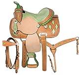 Deen, Enterprises - Sottosella per cavallo in pelle di alta qualità, stile occidentale da corsa per adulti, in pelle abbinata, con colletto al seno, redini da 35,6 cm a 45,7 cm (sedile da 41,9 cm)