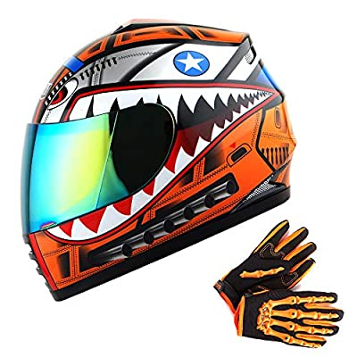 WOW Youth Motorcycle Full Face Helmet Street Bike BMX MX Kids Shark Orange + MX Skeleton Glove Bundle