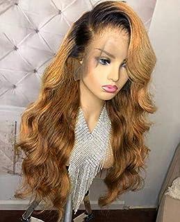 13x6 Lace Front human hair wigs Brazilian Virgin Human Hair Body Wave Ombre 1B/27 Glueless Human Hair Wigs for Women 150% Density(20 inch 150% density,lace front wig)