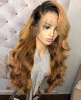 13x6 Lace Front human hair wigs Brazilian Virgin Human Hair Body Wave Ombre 1B/27 Glueless Human Hair Wigs for Women 150% Density(22 inch 150% density,lace front wig)