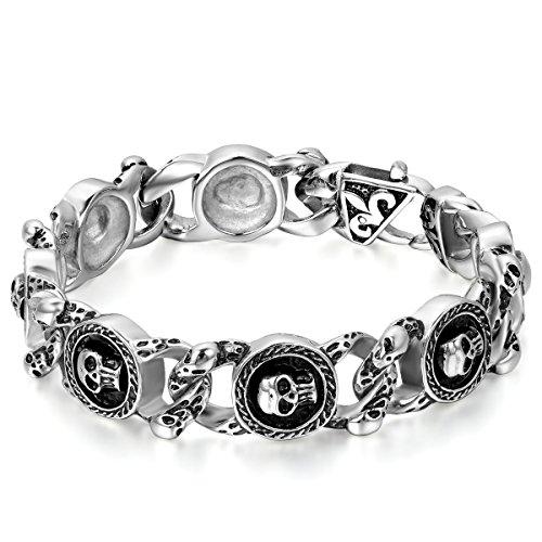 JewelryWe Schmuck Herren Armband, Edelstahl Retro Gotik Totenkopf Schädel Charm Link, Biker, Schwarz Silber