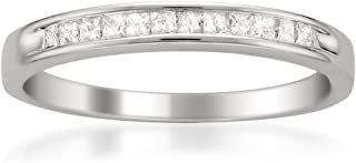 14k White Gold Princess-cut Diamond Bridal Wedding Band Ring (1/4 cttw, H-I, VS2-SI1), Size 7
