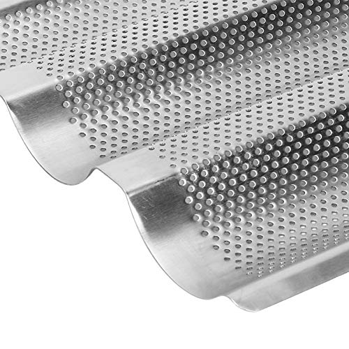 French Bread Baking Pan, Stainless Steel Material Baguette Baking Tray Convenient for Bread for Bakery